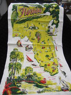 Kay Dee Linen Tea Towel   FLORIDA