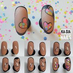 Nail Art Hacks, Nail Art Diy, Cool Nail Art, Diy Nails, Heart Nail Art, Heart Nails, Jolie Nail Art, Valentine Nail Art, Nail Art Designs Videos
