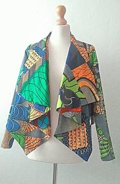 Womens Ankara jacket, cropped African print in  Green mix by Sosome.