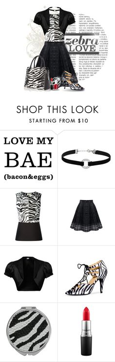 """""""Zebra Love Fashion"""" by divine-designer ❤ liked on Polyvore featuring Miss Selfridge, FAUSTO PUGLISI, WithChic, Betsey Johnson, MAC Cosmetics, Essie, zebraprint and bhalo"""