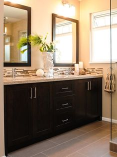 Dark wood with neutrals for a sophisticated and simple look