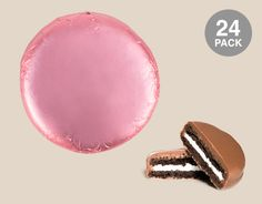 Light Pink Belgian Chocolate Drenched Oreo Cookies Foil Wrapped: 24 Pack of Chocolate Covered OREO Cookies Individually Wrapped in a Light Pink Wrapper Front