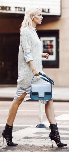 Masha Sedwick Knit On Striped Shirtdress Fall Inspo