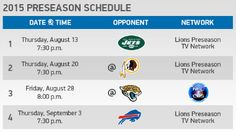 Detroit Lions pre-season schedule 2015