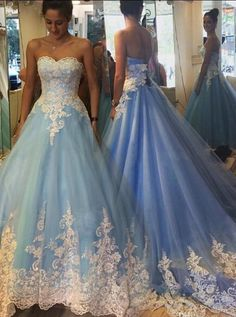 2017 Blue Cinderella Wedding Dresses Princess Appliques Bridal Gowns Fabulous Sweetheart Sweep Train Blue Prom Dress with White Lace prom dresses