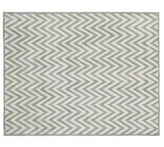 Hayden Zig Zag Rug - Porcelain Blue #potterybarn - Great rug for the Master Bedroom to enhance the blue colors on the distressed wood on the wall.