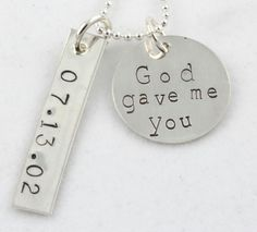 God Gave Me You Wedding Silver Necklace Custom by TheSilverDiva