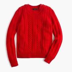 J.Crew PERFECT CABLE SWEATER NWT, This style features chic shoulder buttons for a fun finishing touch. COLOR: wild fire, Rib trim at neck, cuffs and hem. Dry clean. Semifitted. Hits slightly below hip. Runs small (half a size) Lambswool. J. Crew Sweaters Crew & Scoop Necks