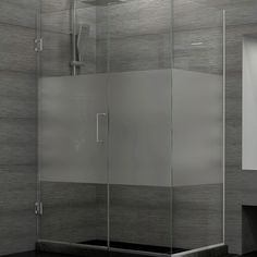 DreamLine SHEN-24465300-HFR-04 Unidoor Plus 46-1/2 in. W x 30-3/8 in. D x 72 in. H Shower Enclosure, Half Frosted Glass, Nickel Finish Hardware