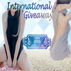 "Hello my girls, good news share to you 🎉 . Now use code ""Feb"" to have 10$ discount off on 80$ or above spend <3 Meanwhile, we have the weekly giveaway for you🎈! Prize is one Virgin Killer Sweater (Color chosen by winner) Total 2 winners 1. Follow @spreepicky 2. Like and Repin this pic  3. Finish above and enter here: https://goo.gl/7WjhNT 4. Ends on Feb 21,2017"