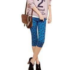 Allegra K Ladies Pockets Back Stretchy Waist Dots Summer Capri Pants Trousers Blue XS Allegra K. $10.52
