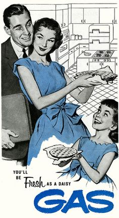 Feeling Fresh With Gas, 1957....in old ads, the mothers and daughters always dress alike
