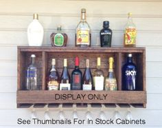 Reclaimed Wood Liquor Wine and Spirits Rack Shot by BarHomeDesigns ...