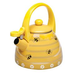 Shop for Yellow Honey Bees Whistling Stainless Steel Tea Kettle. Get free delivery On EVERYTHING* Overstock - Your Online Kitchen & Dining Shop! New Beehive, Cute Gift Boxes, Cast Iron Cookware, Farmhouse Kitchen Decor, Bees Knees, Chocolate Pots, Dinnerware, Tea Pots, Stainless Steel