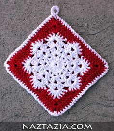 Crochet snowflake hotpad potholder dishcloth and afghan square. Potholder Patterns, Crochet Potholders, Crochet Squares, Crochet Motif, Crochet Hooks, Free Crochet, Granny Squares, Crochet Granny, Christmas Crochet Patterns