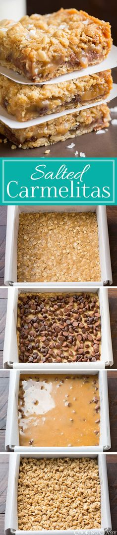 pan) Salted Carmelitas - these are always an instant hit anywhere I take them! You just can't go wrong with cookie bar + salted caramel + chocolate. Sweet Desserts, Just Desserts, Sweet Recipes, Delicious Desserts, Yummy Food, Instant Recipes, Oatmeal Cookie Bars, Cookie Recipes, Dessert Recipes