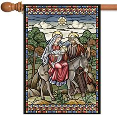 NEW Toland - Stained Glass Nativity - Christmas Jesus Mary Joseph House Flag #TolandHomeGarden