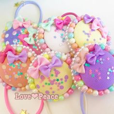 Toddler Hair Accessories, Craft Accessories, Crafts For Girls, Diy And Crafts, Crafts To Sell, Rainbow Candy, Kawaii Crafts, Cute Desserts, Hair Decorations