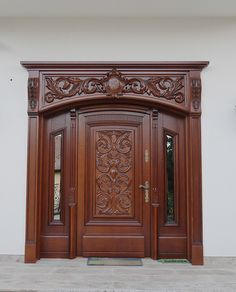 Wooden Front Door Design, Main Entrance Door Design, Double Door Design, Front Wall Design, Wooden Front Doors, Home Door Design, Pooja Room Door Design, House Ceiling Design, Door Gate Design