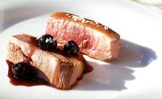 Plump spiced cherries adorn crispy skinned duck breast in this beautiful recipe from Chef Barbara Lynch. Make it in early summer when sweet cherries are at their peak. Cherry Recipes, Duck Recipes, Bacon Recipes, Gourmet Recipes, Duck Soup, Recipe D, Duck Confit, Peking Duck, Roast Duck