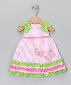 Pink & Lime Gingham Butterfly Seersucker Dress by Rare Editions on #zulilyUK today!