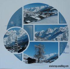 Vue sur mon village enneigé Page réalisée avec le gabarit Espère et les tampons Ambiance hiver
