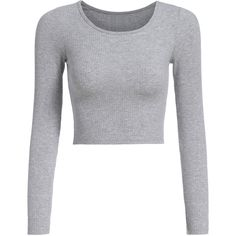 Long Sleeve Crop Grey T-shirt (78 NOK) ❤ liked on Polyvore featuring tops, t-shirts, shirts, crop top, cropped, long sleeves, grey, long sleeve t shirt, gray t shirt and long sleeve tee