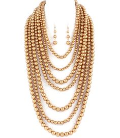 GOLDEN BROWN BEADS LAYERED NECKLACE EARRINGS SET - $21