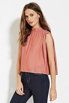 Contemporary Mock Neck Shirred Top