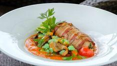 Sumček v slaninke s hlivovým paprikášom - recept Chicken, Meat, Red Peppers, Cubs