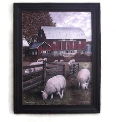 Shiloh Creek Farm Sheep and Barn Art Print by BoggyCreekPrimitive #barn #differencemakesus