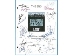 "Lost ""The End"" Final Episode TV Script Screenplay Autograph: Matthew Fox, Evangeline Lilly, Jeff Fahey, Jorge Garcia, Ken Leung"
