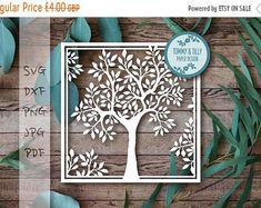 30 % OFF carré naturel arbre SVG Dxf Png Jpg - Papercutting gabarit PDF à imprimer et découper vous-même (usage Commercial)