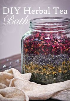 DIY Herbal Bath Teas Make Great Holiday Gifts | BulkHerbStore.com/blog | Herbal bath tea blends make beautiful and useful gifts for the holidays!