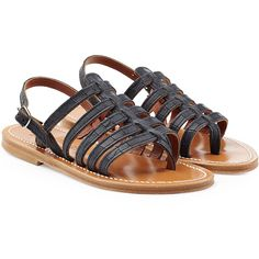 K.Jacques Leather Sandals ($185) ❤ liked on Polyvore featuring shoes, sandals, black, black leather sandals, ankle wrap sandals, strap sandals, buckle sandals and black strappy sandals