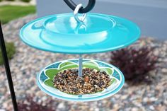 DIY- Bird Feeder made from two melamine plates.