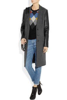 ALEXANDER WANG  Leather-sleeved wool-blend coat