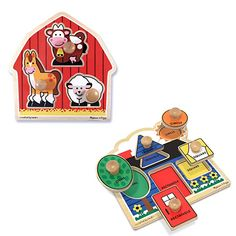 Vegetables /& Farm D DOLITY 2-Pack Wooden Peg Puzzle Jigsaw Educational Toys for 1-4 Year Olds Baby Toddlers