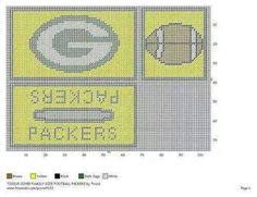 Packers Plastic Canvas Coasters, Plastic Canvas Tissue Boxes, Plastic Canvas Crafts, Plastic Canvas Patterns, Cross Stitch Designs, Cross Stitch Patterns, Football Crafts, Football Stuff, Tissue Box Covers