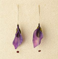 Margaret Dorfman : Edible Purple Potato and Zucchini earrings with Garnet Stamen
