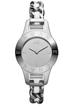Armani Exchange Women's AX4143 Silver Stainless-Steel Quartz Watch with Silver Dial -commodityocean.com Armani Watches For Women, Stainless Steel Watch, Quartz Watch, White Leather, White Watches, Movement Watches, Leather Watches, Dress Watches, Silver
