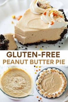 This gluten-free peanut butter pie has a smooth, creamy cream cheese-based peanut butter filling and an easy, gluten-free Oreo crust. #glutenfree #peanutbutterpie #glutenfreedessert #dessert