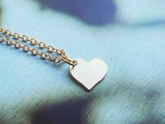Tiny Gold Heart Necklace Simple Jewelry Small by bloomyjewelry, $18.00