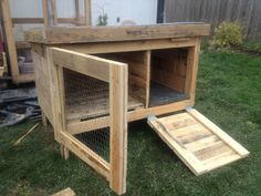 This rabbit hutch was built from recycled pallets. It will soon have a green roof growing food for the bunnies.