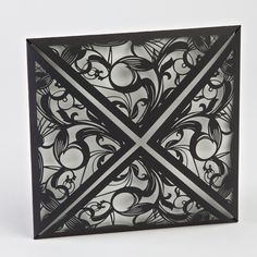 Black Matte Laser Cut Diamond Flap Invite only £1.39