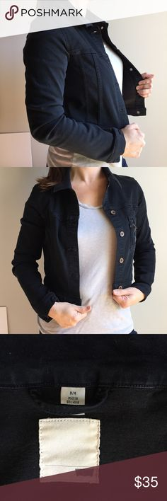 LEVIS'S ⚡️ cool black denim jacket stretchy Authentic Levi Strauss womens size medium black jean jacket . This Levis jacket has only been washed once so very little fade, the black dye is still sharp. Features a fitted waist length, single zipper pocket on the front, stretchy comfortable material (not stiff) , full classic button up style and single button cuffs as well. Very FRESH look. Levi's Jackets & Coats Jean Jackets
