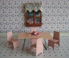 Vintage Miniature Dollhouse Furniture  50s Pink Metal by TheToyBox