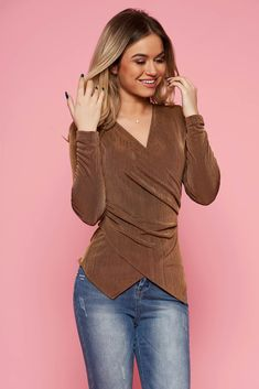 "StarShinerS brown occasional top shirt with tented cut with v-neckline, tented cut, ""V"" cleavage, long sleeves, elastic fabric, thin fabric"