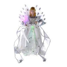 Kurt Adler 12-Inch White and Silver LED Fiber Optic Angel