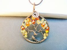 Autumn Copper Tree of Life Pendant by adornjewels on Etsy pin to view later click to buy